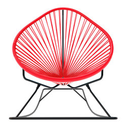 Acapulco Rocker, Red Weave On Black Frame - Sit back and relax in this classic woven rocking chair. The iconic pear-shaped seat is perfect for enjoying the backyard, but looks equally stylish inside the home. Order from a rainbow of colors to match your personality or stay cool with classic black and you can't go wrong.