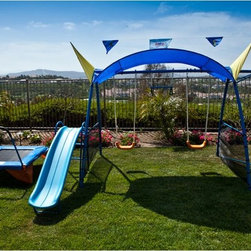 IronKids - IronKids Premier 300 Metal Swing Set Multicolor - 8103 - Shop for Swings Slides and Gyms from Hayneedle.com! Your children will love playing for hours outdoors on the IronKids Premier 300 Metal Swing Set. Designed for fun and to provide your kids with plenty of exercise this swing set includes two swings a slide a trampoline a monkey bar and even a sunshade to help protect your children from the sun. Built to last this swing set is made with a two-inch powder coated tubular steel frame and Arch Built U-shaped support posts which provide greater stability and safety then the traditional V-shaped frame. When installed properly the posts of this set will not come off the ground when in use.Every child loves jumping on a trampoline and this trampoline features a heavy gauge welded steel frame as well as heat treated steel springs and a jumping mat that's made in the USA. Able to hold kids up to 100 pounds this trampoline also has a handle bar for holding onto. Two swings provide hours of fun and exercise for your children and their friends.With comfortable contoured plastic seats and chains covered in thick plastic to protect little fingers these classic swings will be a hit. Your child will develop strength and endurance using the monkey bar although in their imaginations they may be traversing a giant cliff or making a daring escape. Or they may choose to play on the spinner which boasts a sturdy and safe platform.No swing set is complete without a slide and the Premier 300 includes a slide that is made from strong polypropylene plastic UV treated with antifreeze protection to withstand harsh weather condition and rolled sides to ported your child's hands. Able to be assembled in four to six hours with two adults this set can also be disassembled in less than an hour so it can be moved or taken with you if you move. A fun addition to your backyard you'll love watching your kids play outdoors and using their imaginations all year long. Features 2-inch powder