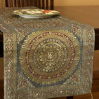 "Elegant Table Runners - ""Oriental Dabka"" table runner design. Striking Golden Silver color. Elegant complement to any room. Indian made."