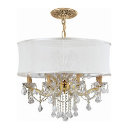 Crystorama - Gold Chandelier Draped with Antique White Silk Shade (Spectra) - Choose Crystal Type: Spectra.