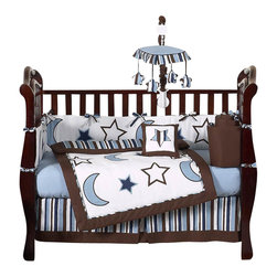 Sweet Jojo Designs - Starry Night 9-Piece Baby Crib Bedding Set by Sweet Jojo Designs - The baby bedding by Sweet Jojo Designs includes: comforter, bumper, dust ruffle, fitted sheet, toy bag, pillow, diaper stacker and 2 window valances.