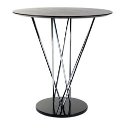Eurø Style - Stacy Black, Ebony and Chrome Bar Table - Bring delicate and art look to any bar area with round Stacy Black, Ebony and Chrome Bar Table. Sturdy bar table features multi steel chromed tube supporting with black round wood top and ebony marble base.