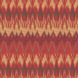 Sunbrella - Red Wine Ikat Fabric - Sold by the yard, 36 inches, at 54 inch width.