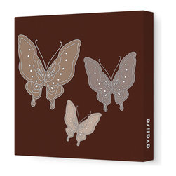 """Avalisa - Animal - Butterfly Stretched Wall Art, 28"""" x 28"""", Brown - You don't need a net to capture this look and transform your space. Stylized butterflies are printed on stretched fabric in your choice of sizes and color combinations. It's a great way to add color and whimsy to any room in your house."""