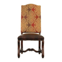 Stanley Furniture - Stanley Costa Del Sol Perdonato Side Chair Cordova 971-11-65 Multicolor - 971-11 - Shop for Dining Chairs from Hayneedle.com! It's easy to see the elegance as it shines through in the quality and simplicity of the Stanley Costa Del Sol Perdonato Side Chair Cordova 971-11-65. The intricate tapestry upholstered back and aniline-dyed leather seat are detailed with nailhead trim for a timeless look. The ornate hand-tipped hickory legs feature a delicate carved stretcher detail. Make everyone feel like the guest of honor at your table with the Perdonato chair.The Costa Del Sol CollectionFrom Portugal's white-washed beaches to Greece's sparkling azure waters the Costa del Sol collection blends traditional styles from Europe's southern sea coast with alluring Spanish scrolling and decadent carefree charm of a Tuscan country house. Old-World wood grain is brought to vivid life with rustic mid-tone finishes or hand-rubbed dark coffee colors buffed to a soft satin glow. Authentic distressing techniques like burnishing cow-tailing and axe marks enhance the well-loved heirloom appearance of each item in this matching collection.Stanley Furniture Craftsmanship Stanley Furniture's main objective is to produce quality and stylish furniture by using the best wood materials construction procedures and elegant finishes on their products to help you fashion your home decor the way you imagined. All of their furniture is hand-crafted from quality woods incorporating other superior materials such as aluminum glass plastic leather and marble. Every joint is carefully constructed (keeping wood's sensitivity to heat and humidity in mind) allowing for expansion and contraction. All joints are held together with glue and nail. Stanley's 30-step finishing process starts with an undertone stain that is applied to a hand-sanded piece. Next the stain is sealed with a wash coat then hand sanded again with filler applied to pack the wood pores and smooth out the surface. A seal