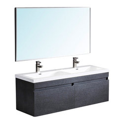 Fresca - Fresca Largo Black Wood Modern Bathroom Vanity w/Wavy Double Sinks - Striking in its simplicity this double sink vanity offers modern sophistication to your bathroom. This vanity also features uniquely designed chrome faucets and special pull out drawers. It's large sink has a unique wavy bottom for splash of fun. Comes in two finishes, Gray Oak and Teak. The Largo is designed to come with the Versa faucet, but you may choose from any of the faucets in the drop down options to customize your vanity, for free.