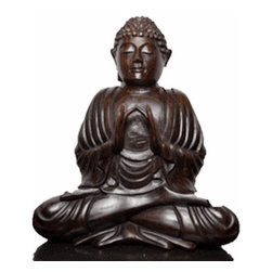 """BaliBoutique - Ebony Wood  Buddha Love - Buddha Love-This Ebony Wood Buddha  Depicting Buddha in a pose of meditation,  shows the master with his middle fingers touching. Buddha sits with legs crossed in the lotus position, oblivious to the cares of everyday life as he seeks eternal bliss. Embrace the sensation of absolute calm in a wonderfully detailed sculpture.H x 8"""", W x4""""."""