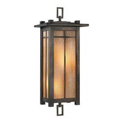 Fine Art Lamps - Capistrano Outdoor Coupe, 401581ST - Add a warm glow to your porch, patio or entryway with this outdoor lamp. Striated glass in a champagne linen color accent a beautiful bronze frame.