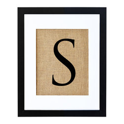 Fiber and Water - Letter S Art - Let your letter of choice, hand-pressed on natural burlap and housed in a distressed wood frame, bring you own special style to any setting. In a nursery or entryway, it will proudly display a first or last initial for a personalized touch.