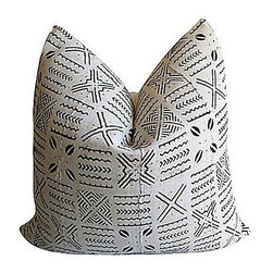 Pre-owned African Textile & Linen Pillow - Custom pillow from an authentic African hand-spun and channeled natural cotton mud cloth with linen reverse side and zipper closure. Gorgeous!