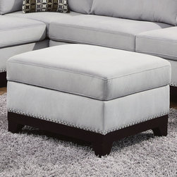 """Coaster - Mason Storage Ottoman, Blue Grey - Create a living room that fits your style and needs with this reversible sofa chaise wrapped in blue grey velvet. Adorned with individually placed nailheads, an exposed solid wood frame and accent pillows, our Mason sectional brings easy to match style and plenty of seating. Also features a 100% solid wood full return, removable seat and fiber filled back cushions. Complete this contemporary ensemble with a matching ottoman, which can be pushed against the end of the chaise to make it extra-long.; Contemporary Style; Finish/Color: Blue Grey; Upholstery: Velvet; Dimensions: 36""""L x 25""""W x 20""""H"""