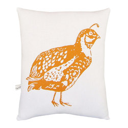 "artgoodies - Quail Squillow Pillow - A cute accent pillow for your couch, chair, or bed!  An original hand carved block print has been hand printed on 100% cotton, sewn together with coordinating vintage fabric, and filled with poly-fil. Measures 10.5"" tall x 8.5"" wide."