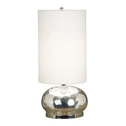 """Kenroy Home - Kenroy Home 21099 23.375"""" Single Light Round Table Lamp - Contemporary / Modern 23.375"""" Single Light Round Table Lamp with Drum Shade from the Roxie CollectionRadiant, reflective Mercury Glass defines the spherical base of this contemporary lamp, giving it a romantic feel. A tall White drum shade elongates and defines the shape.Features:"""