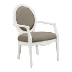 Comfort Pointe - Madison Taupe Accent Chair - Intricate detailed hand carvings. Fluted front legs. Solid Wood Construction. Minor Assembly Required. Fabric: Textured taupe color solid. Fabric Content: 100% Polyester. Finish: White Finish. Seat Height: 20 inches. Arm Height: 27 inches. 26 in. W x 31 in. D x 41 in. H (28.15 lbs.)This hand carved accent chair provides a casual feel.  The white vibrant finish is complimented by the textured, taupe color fabric used for the cushion. Crafted with solid hardwood construction, this chair is sure to be a staple in your home for years to come.