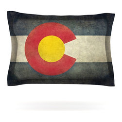 "Kess InHouse - Bruce Stanfield ""State Flag of Colorado"" Black Red Pillow Sham (Cotton, 30"" x 20 - Pairing your already chic duvet cover with playful pillow shams is the perfect way to tie your bedroom together. There are endless possibilities to feed your artistic palette with these imaginative pillow shams. It will looks so elegant you won't want ruin the masterpiece you have created when you go to bed. Not only are these pillow shams nice to look at they are also made from a high quality cotton blend. They are so soft that they will elevate your sleep up to level that is beyond Cloud 9. We always print our goods with the highest quality printing process in order to maintain the integrity of the art that you are adeptly displaying. This means that you won't have to worry about your art fading or your sham loosing it's freshness."