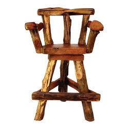 Groovystuff - Groovystuff Sawtooth Swivel Bar Chair in Honey - Features:
