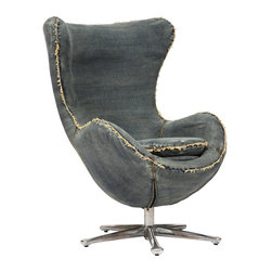 "Zuo Modern - Winchester Armchair by BSEID - The distinctive design of the well padded Winchester Armchair invites comfort seekers. Five chrome legs are spread out ensuring stability. Like an old pair of jeans, the raw denim edges are frayed for some nostalgic appeal. An ideal option for a play room or family room. (ZM) 30.7"" Wide 25.5"" Deep x 46.4"" High seat height 21.6"" swivel base"