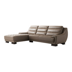 ESF Furniture - 6082 Italian Leather Sectional Sofa with Left Chaise - Made with style & comfort in mind, the 6082 sectional sofa by ESF Furniture will bring a remarkable accent into your living room area, featuring Italian leather in the front and a designer leather match in the back where the contact is minimal.