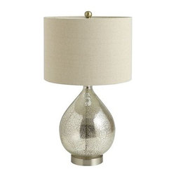 Teardrop Luxe Lamp - This teardrop lamp has a vintage-looking glass base with a classic shade.