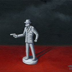"Alone (Original) by John Padlo - ""Alone"" - Original painting on canvas board by John Padlo. This is painting of a Marx Untouchables gangster toy."