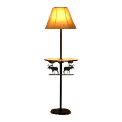 """Wildlife Decor LLC - Rustic Floor Lamp with Pine Shelf, Wrinkle Black, Moose - Rustic floor lamp comes with pine shelf and 3-way switch rated to 150 watts. The heavy double 3/16"""" thick base with 4 metal feet/glides measures 12"""" wide and 9.5"""" deep to add stability to the lamp. The overall height of the lamp is 59.5"""". The shelf measures 18"""" wide by 11"""" deep and is 30.5"""" from the floor. The shade is 15"""" at the bottom, 5.5"""" at the top and is 11.5"""" high."""