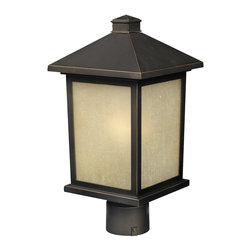 Z-Lite - Z-Lite Holbrook Outdoor X-BRO-MHP705 - The solid, timeless styling of this medium outdoor post-head makes this a versatile fixture, suiting both traditional and modern styles.  Warm tinted seedy glass panels are paired with a finish of oil rubbed bronze, to create a very inviting look. Made of cast aluminum, this fixture is made to endure nature, regardless of the season.