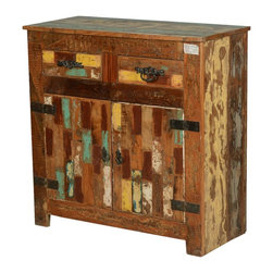 """Rustic Painted Patches Reclaimed Wood Buffet Cabinet - Sometimes adding color to a rustic interior can be tricky, but we make it easy with our Rustic Painted Patches 35.5"""" wide free standing Cabinet. This solid hardwood mini buffet has patches of color which blend with natural shades of brown. The black wrought iron hinges and hardware add an additional dynamic."""