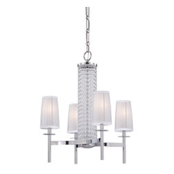 Designers Fountain - 4 Light Up Lighting Chandelier - The Candence collection features the glimmer of crystal beads, polished metal and shimmering organza fabric, the Candence Collection lights up a room with its fresh spirit and unique design energy reinventing Traditional Elegance. Designers Fountain has been a leading manufacturer and distributor of decorative and functional and residential lighting in the United States since 1985. Headquartered in a state-of-the-art 225,000 square foot facility in the Los Angeles area.
