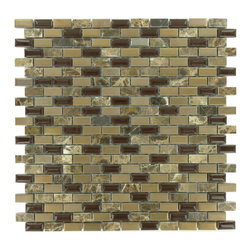 """Euro Glass - 1/2"""" x 1"""" Bronze/Copper Brick Series Glossy Stone and Porcelain - Sheet size: 11 1/2"""" x 11 1/2"""""""