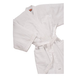 Gilden Tree - Waffle Weave Kimono Spa Robe - White - Spa-quality waffle weave robe is lightweight and dries quickly. Perfect after a bath or shower, or for lounging around the house.