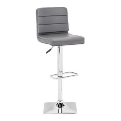 Zuo Modern - Variance Barstool Gray - This stool is made with a chromed steel frame and leatherette wrapped seat and back cushions with adjustable height and a swivel base.