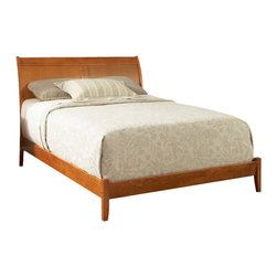 Atlantic Furniture - Atlantic Furniture Bordeaux Platform Bed with Open Footrail in Caramel Latte-Kin - Atlantic Furniture - Beds - AP9251007 - The Bordeaux is constructed of solid hardwood and select mahogany veneers. Hook and rail system allows for multiple configurations and height settings. Sleigh style with curved headboard.