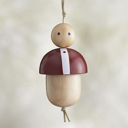Baby Ornament - Our friendly family members are crafted in simple shapes of pinewood, strung together on a cord and finished with colorful painted details. Coordinating mom, dad and child ornaments let you gather an entire family to decorate your holiday tree. Studiopatró founding artist Christina Weber strives for memorable simplicity in everything she creates. Her sources of inspiration—architecture, nature and pattern—can be seen in her ornament designs, crafted of pale wood with bright strokes of color.