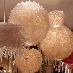 Feather Ball Fixture - All of our ceiling fixtures come from Europe, they are hand made and every piece is unique.