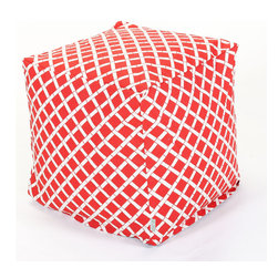 Majestic Home - Outdoor Red Bamboo Small Cube - What could be cooler than this updated beanbag that serves as a footstool, side table or comfy seat — indoors or out? Maybe the fact that the stylish bamboo pattern is printed on easy-care cotton twill so you can just unzip the slip and toss it in the wash.