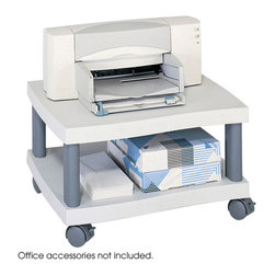 """Safco - Wave Under Desk Printer Stand - Grey - Under and out of sight! Convenient machine stand is just the right height to keep a printer or fax machine under a working surface. Complete with clean, contemporary design in durable plastic, a machine platform and a supply shelf that provides storage for paper, ink cartridges, envelopes and more. Rolls easily to point of use on four swivel casters (2 locking).; Features: Material: Plastic; Color: Grey; Finished Product Weight: 9 lbs.; Assembly Required: Yes; Tools Required: No; Limited Lifetime Warranty; Dimensions: 20""""W x 17 1/2""""D x 11 1/2""""H"""