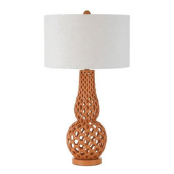 Horizons - Horizons Chain Link Contemporary Table Lamp X-LT-6848 - From the Chain Link Collection, this AF Lighting contemporary table lamp features an elegant and shapely body constructed of resin and finished in an unexpected but appropriate Yellow hue. It also features a hard back drum shade made from a white poly linen.