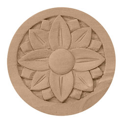 "Ekena Millwork - 3 1/2""W x 3 1/2""H x 1/2""P Bedford Rosette, Rubberwood - 3 1/2""W x 3 1/2""H x 1/2""P Bedford Rosette, Rubberwood. Our rosettes are the perfect accent pieces to cabinetry, furniture, fireplace mantels, ceilings, and more. Each pattern is carefully crafted after traditional and historical designs. Each piece comes factory primed and ready for your paint. They can install simply with traditional adhesives and finishing nails."