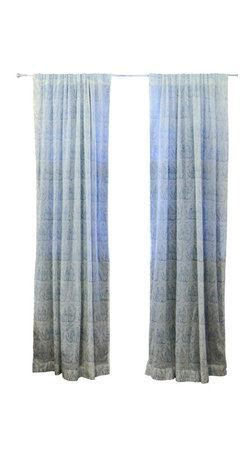 """Ichcha - Toile d'Indigo Window Curtain, 84"""" - The Panels are hand block printed and colored with natural dyes! The Toiles are a nostalgic reminder of our history and our craft past. They can also be paired with our block printed stripes to create a unique setting in your home."""