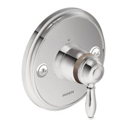 """Moen - Moen TS32110 Chrome Weymouth Single Handle ExactTemp Thermostatic - Single Handle Thermostatic Valve Trim Only with Metal Lever Handle from the Weymouth CollectionElegant, traditional design details and distinctive finishing touches present a sense of uncommon luxury in the Weymouth collection. Distinctive accents include porcelain inlays that feature Euro influenced decorative script and signature styling elements.From finishes that are guaranteed to last a lifetime, to faucets that perfectly balance your water pressure, Moen sets the standard for exceptional beauty and reliable, innovative design.Features:Lever design for ease of useLifeShine finish guaranteed not to tarnish, corrode or flake offExactTemp thermostatic valve allows for pinpoint temperature controlM-PACT common valve systemMetal constructionFlow lever operates counterclockwise through a 90 degrees arc with shut off at 6 o clock and maximum flow at the 3 o clock positionShut off in clockwise directionTemperature lever operates through a 340 degrees arc with maximum cold at full clockwise rotation and maximum hot at full counterclockwise rotationSafety stop preset temperature at 105 degrees F (41 degrees C)Safety stop override allows maximum temperature at 120 degrees F (49 degrees C)Factory established temperature range from 70 degrees F (21 degrees C) to 120 degrees F (49 degrees C)For use with S3371, 3/4 thermostatic valve and S3600, volume control valveMade in: ChinaLifetime limited warranty against leaks, drips and finish defects to the original consumerStandards:ASME A112.18.1CSA B-125.1ASSE 1016ADA CompliantSpecifications:Cartridge type: ceramic diskConnection size: 3/4""""Connection type: IPS"""