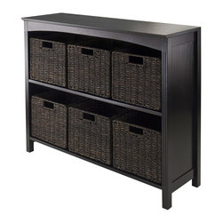Winsome Wood - 37 in. Wooden Storage Unit - Includes six small baskets. Perfect to use alone or pair with baskets and create a place for goodies. Made from solid, composite wood. Dark espresso finish. Assembly required. Upper shelf: 34.57 in. W x 10.63 in. D x 12.80 in. H. Lower shelf: 12.32 in. H. Baskets: 11.02 in. W x 10.24 in. D x 9.06 in. H. Storage unit: 37 in. W x 11.81 in. D x 30 in. H