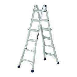 Louisville 6-17 ft. Aluminum Multi-Purpose Ladder - The Louisville 6-17 ft. Aluminum Multi-Purpose Ladder isn't the best ladder around - it's the 4 best ladders around! This amazing multi-function ladder operates capably and safely as a 4- to 7-foot stepladder 9- to 15-foot extension ladder 3- x 5-foot stairway 1- to 3-foot scaffold Every setting can be made by a single person, using the built-in quick-activating snap-lock hinges. Heavy-duty locking pins ensure safety in every setup as ensured by ANSI, CSA, and OSHA safety rating approvals. There's a telescoping bottom for maximum security, and unique telescoping design for minimum required storage space. About Louisville Ladder Since 1946, Louisville Ladder has been innovating in the field of climbing products and building a rock-solid reputation. As the first company to create aluminum step and extension ladders and the first to create a fiberglass ladder, they're well aware of the ground they stand on. Look to Louisville for rock-solid basic products and incredible new inventions designed to let both the homeowner and professional worker reach new heights.