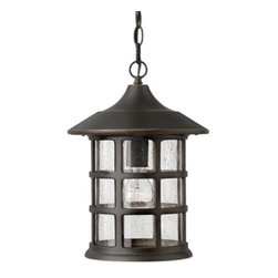 """Hinkley Lighting - Freeport Outdoor Pendant by Hinkley Lighting - Gently swaying in the cool night air, the Hinkley Lighting Freeport Outdoor Pendant suggests the charm of fixtures seen in an old New England seaside village. Features a single clear seeded glass shade encased within a cylindrical metal frame in a lightly distressed oil-rubbed bronze finish that hangs from a matching 60"""" length of chain. Use one or more to illuminate and add some charm to a front or back porch.Cleveland-based Hinkley Lighting is driven by a passion to combine design and function to create exceptional lighting solutions. Family-owned Hinkley began as a traditional lantern company in 1922, and, still today, they produce top quality outdoor lighting. Hinkley Lighting has also expanded to include a full range of interior lighting solutions, including chandeliers, sconces, pendants and vanity lights.The Hinkley Lighting Freeport Outdoor Pendant is available with the following:Details:One cylinder-shaped, Seedy glass shadeMetal bodyOne ceiling canopyOne 60 in. chainOne 72 in. leadwireUL ListedOptions:Finish and Shade: Oil Rubbed Bronze with Clear Seedy, or Olde Penny with Etched Seedy.Lamping: Dark Sky, Energy Saving Dark Sky, or Incandescent.Lighting:Dark Sky option utilizes one 100 Watt 120 Volt Medium Base Incandescent lamp (not included).Energy Saving Dark Sky option utilizes one 26 Watt 120 Volt Type GU24 Compact Fluorescent lamp (included).Incandescent option utilizes one 100 Watt 120 Volt Medium Base Incandescent lamp (not included).Shipping:This item usually ships within 7 days."""