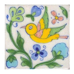 "Knobco - Ceramic tile, White base tile w/ yellow, green & pink bird & blue flowers - White base tile with yellow, green and pink bird and blue flowers from Jaipur, India. Unique, hand painted tiles for your kitchen or other tiling project. Tile is 3x3"" in size."
