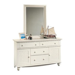 Sauder - Harbor View Dresser & Mirror Set - Includes 4 drawer dresser and mirror. Patented T-lock assembly system. Additional storage behind louver detailed doors. Detailing includes solid wood knobs and turned feet. Made of engineered wood. Assembly required. Dresser: 58 in. W x 18 in. D x 34 in. H. Mirror: 31 in. W x 3 in. D x 43 in. H
