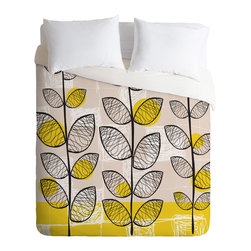 DENY Designs - Rachael Taylor 50s Inspired Queen Duvet Cover - Get in touch with your retro side with a witty pattern that recalls an era of decorating innocence. This super-comfy woven polyester duvet cover flips to solid white to suit your patterned sheets.