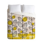 DENY Designs - Rachael Taylor 50s Inspired Duvet Cover, Queen - Get in touch with your retro side with a witty pattern that recalls an era of decorating innocence. This super-comfy woven polyester duvet cover flips to solid white to suit your patterned sheets.
