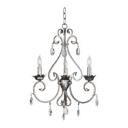 Kenroy Home - Kenroy 91343WS Antoinette 3 Light Chandelier - Like vintage jewelry, this grouping in a Weathered Silver finish and cut glass accents will put your exquisite taste on display.  Delicate curves, with a French design influence, let Antoinette hang with a sumptuous aristocratic air.