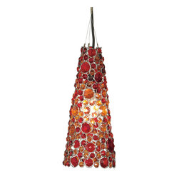 """Everybody's Ayurveda - Hanging Cone Lamp in Red Glass - Red Glass Hanging Cone Lamp. Iron and Glass. Made in India. 6"""" Wide x 6"""" Deep x 13 3/4"""" Tall. Hard Wire. Red glass beads with shiny silver accents."""