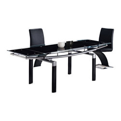 Global Furniture - Global Furniture USA 88DT Rectangular Black Glass Dining Table with Black Legs - The table features rectangular Frosted glass top which is framed with clear glass and folding sides. The tubular legs are made of silver metal and finished in black which completes the look of your dining or living space